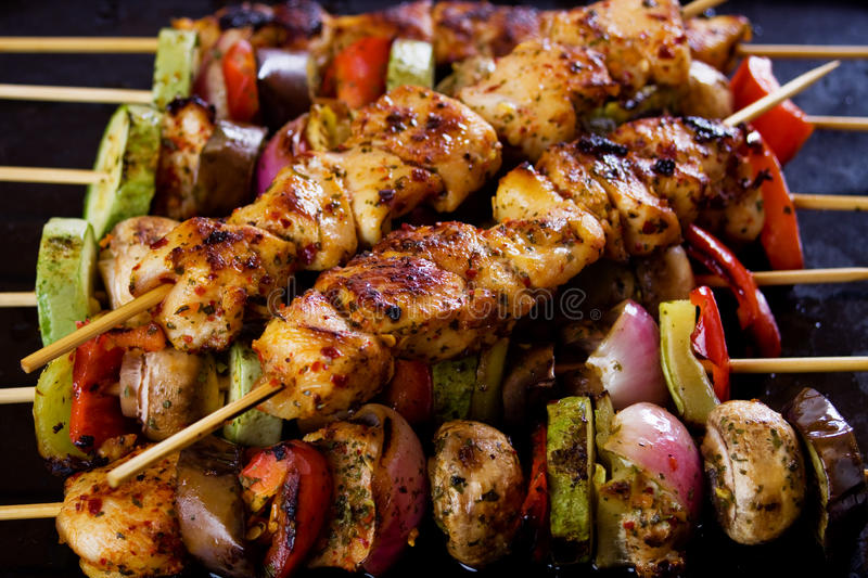 Grilled chicken meat and vegetable stock images