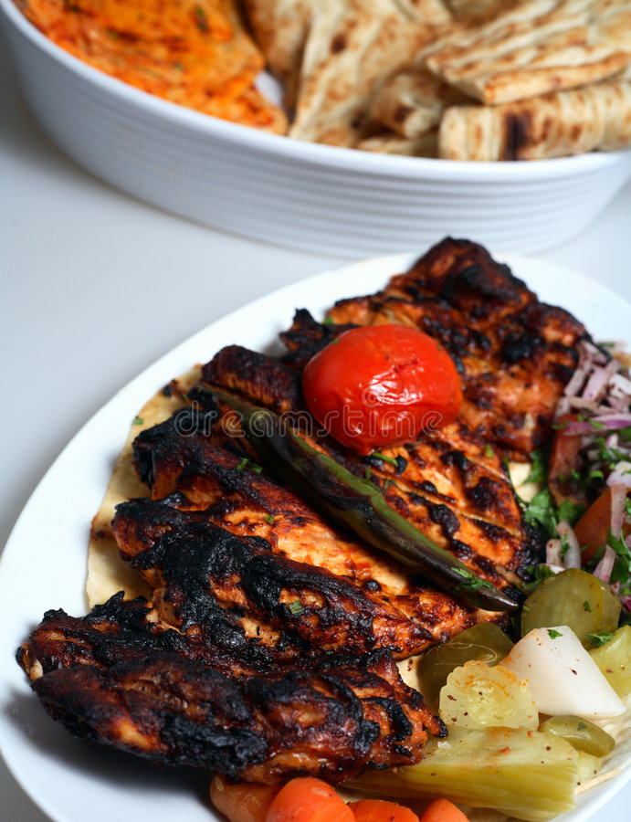 Grilled chicken pickles breat royalty free stock photo