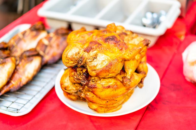 grilled chicken on plate royalty free stock images