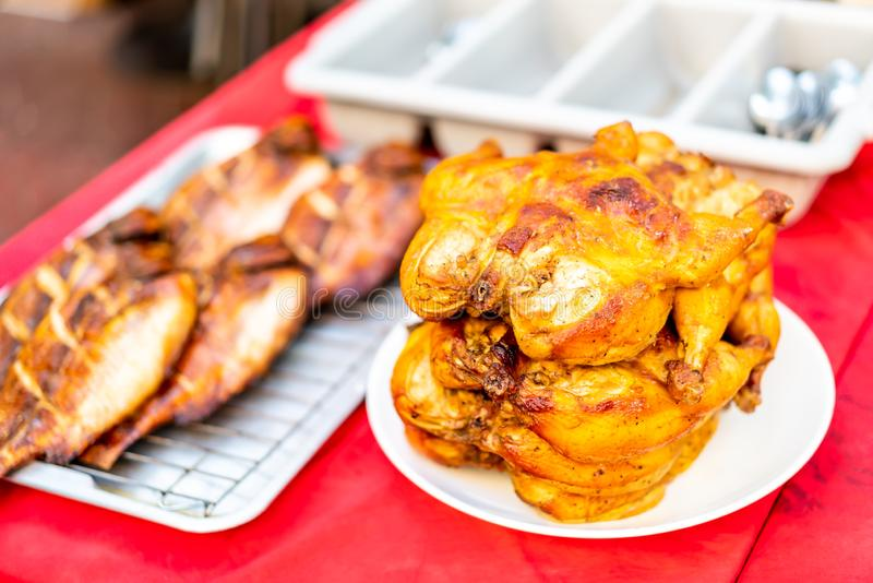 grilled chicken on plate royalty free stock photos