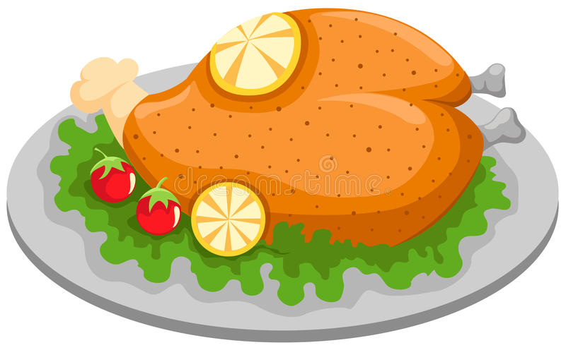Grilled chicken in a plate with lemon vector illustration