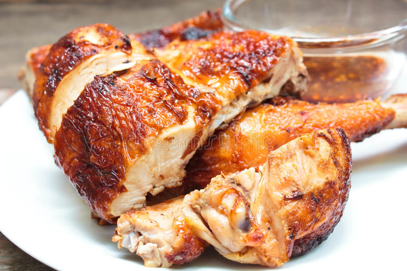 Grilled chicken on plate. royalty free stock photo