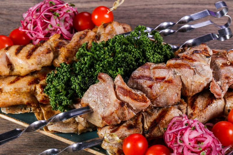 Grilled chicken and pork stock photos