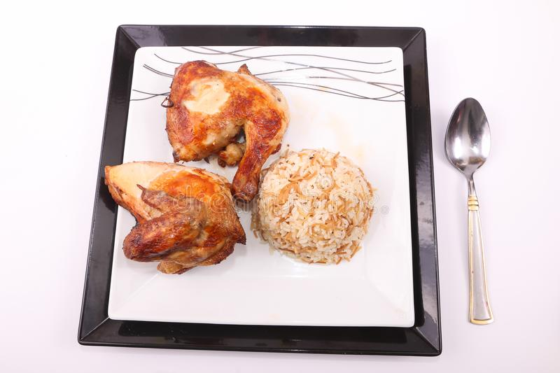 Grilled chicken with rice meal royalty free stock photography