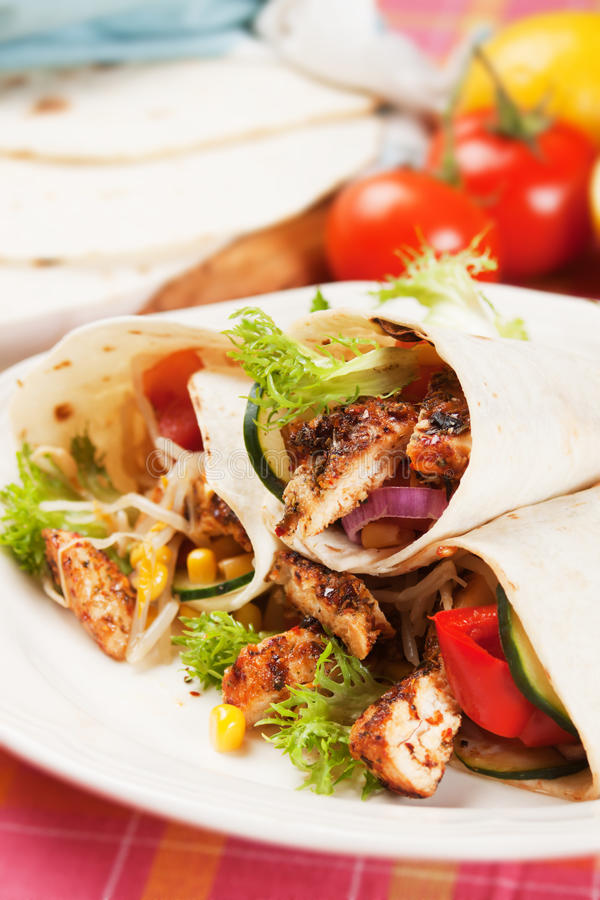 Download Grilled Chicken And Salad In Tortilla Wrap Stock Image - Image: 25160355