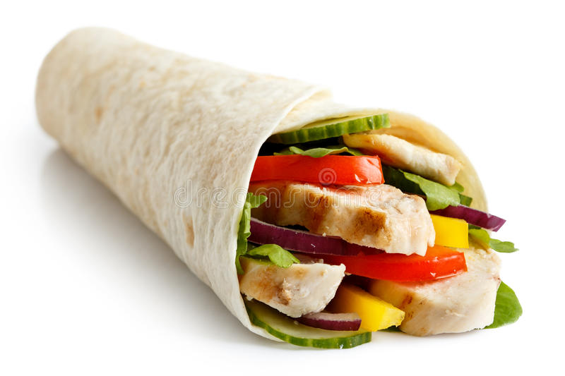 Grilled chicken and salad tortilla wrap isolated on white. No sa. Uce royalty free stock photo