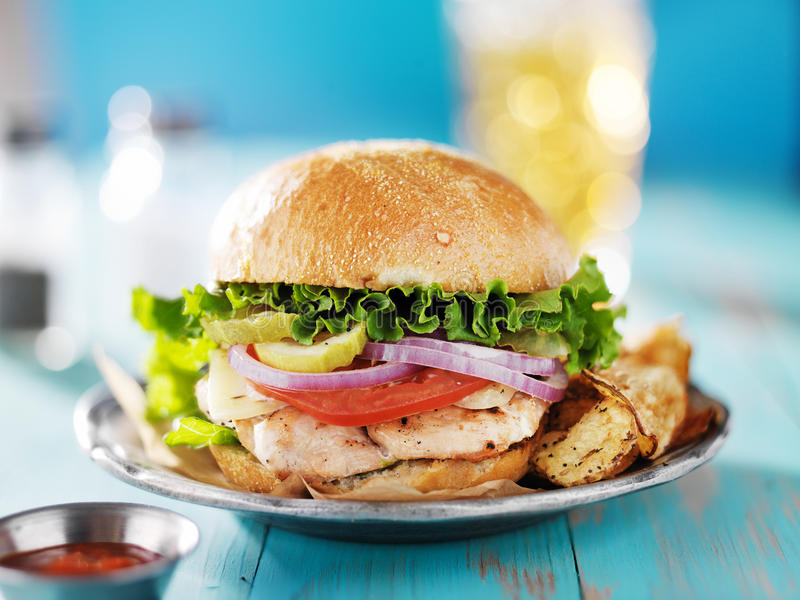 Grilled chicken sandwich stock photo