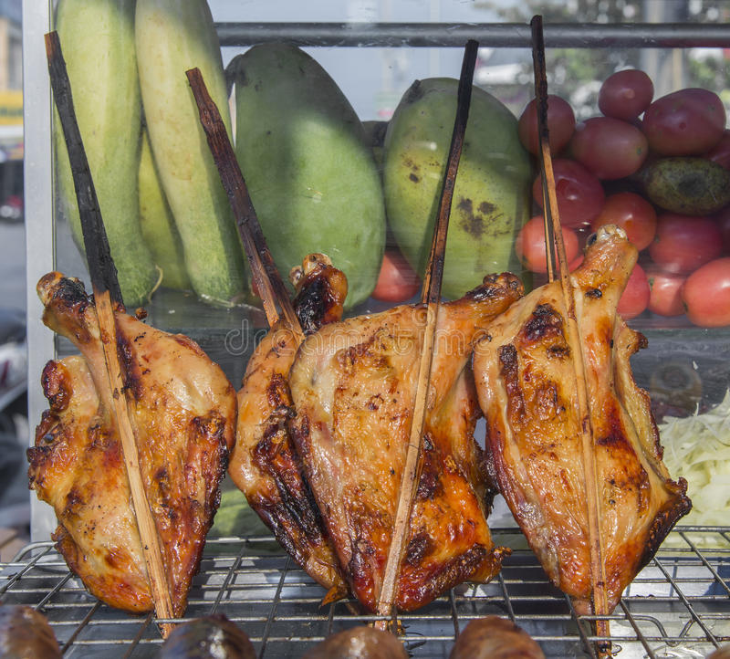 Grilled chicken thai style on display street food shop in thaila. Nd stock photo