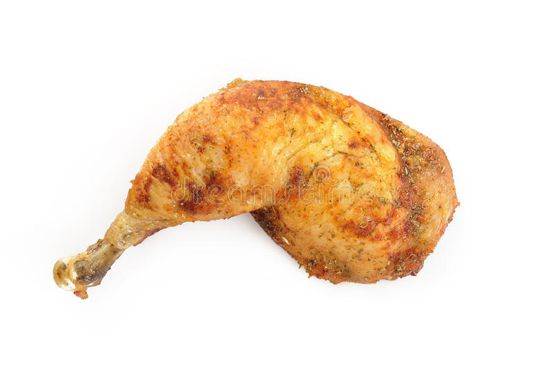 Grilled chicken thigh stock images