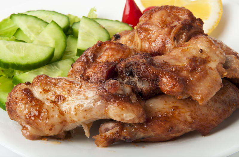Download Grilled Chicken On A White Plate Stock Photo - Image of meal, barbeque: 23875704