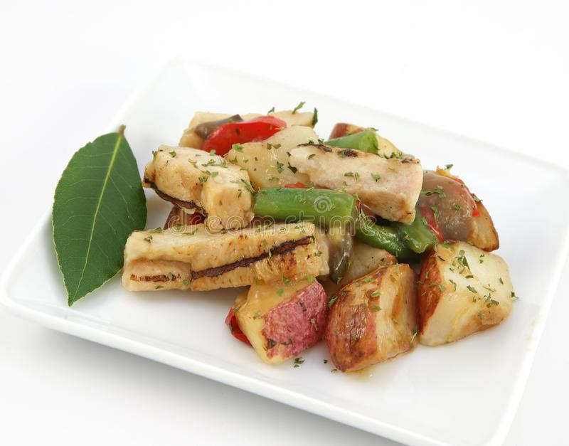 Grilled chicken in wine souse stock photography