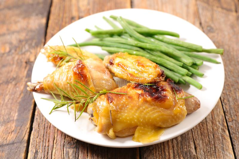 Grilled chicken wing. And leg royalty free stock photos