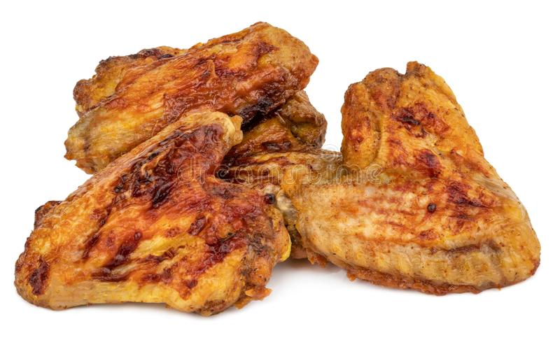Grilled chicken wings isolated on white background.  royalty free stock images