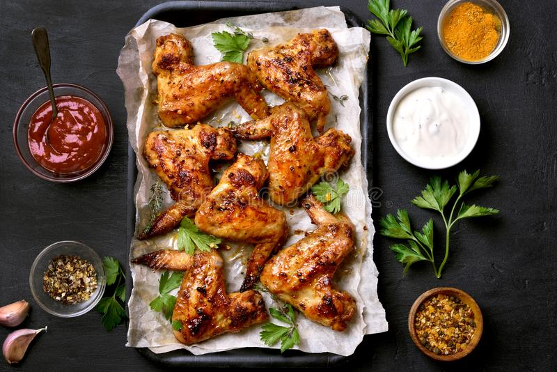 Grilled chicken wings, top view stock photo