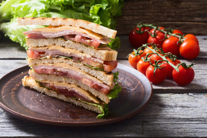 Grilled club sandwich. Club sandwich with bacon, tomato, cucumber and herbs royalty free stock photo