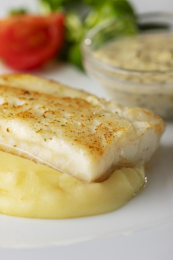 Grilled cod stock images