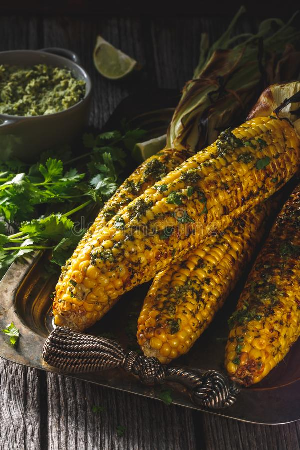 Grilled Corn on Cob. Summer Vegetables Barbecue royalty free stock photography