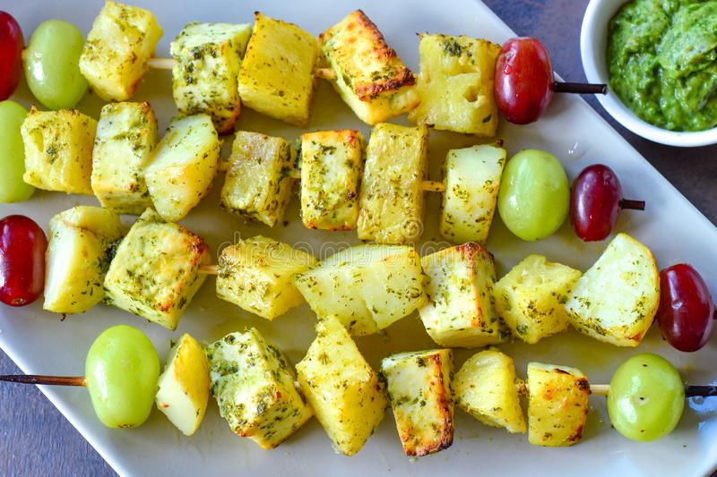 Grilled cottage cheese - Paneer tikka stock photos