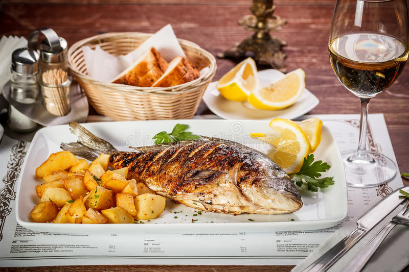 Grilled dorada stock image