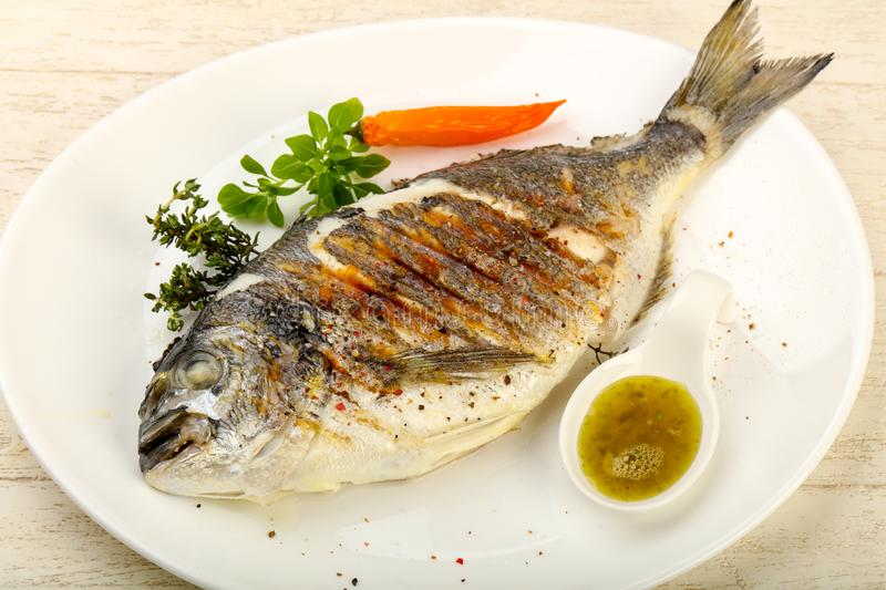 Grilled dorado fish. With sauce, thyme and basil stock photo