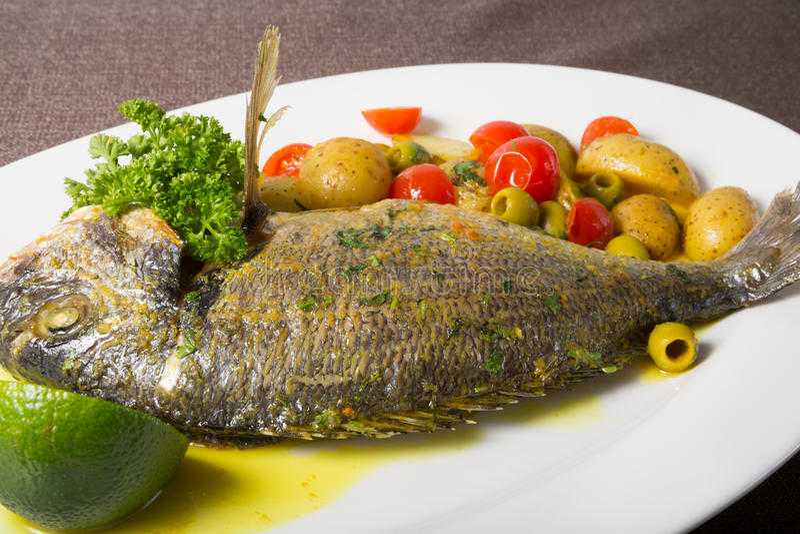 Grilled dorado fish stock photo
