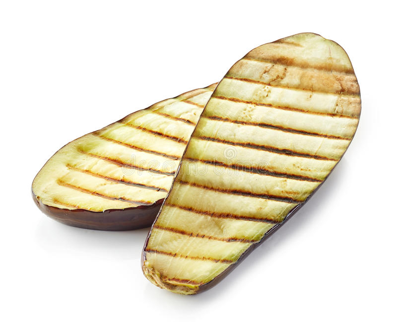 Grilled eggplant on white background royalty free stock photos