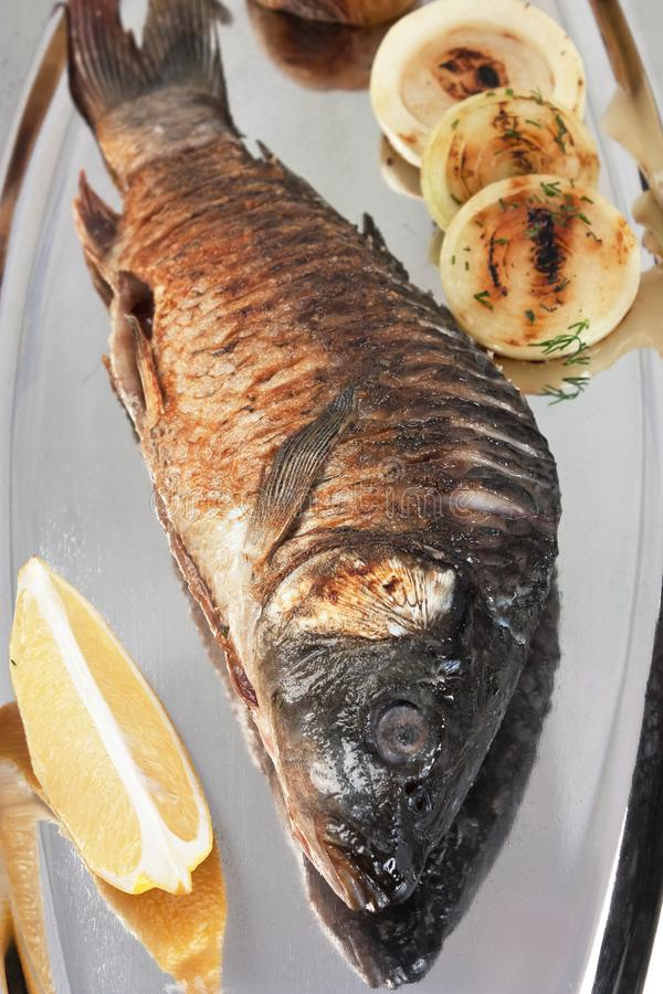 Grilled fish. Dish of grilled fish close up stock images