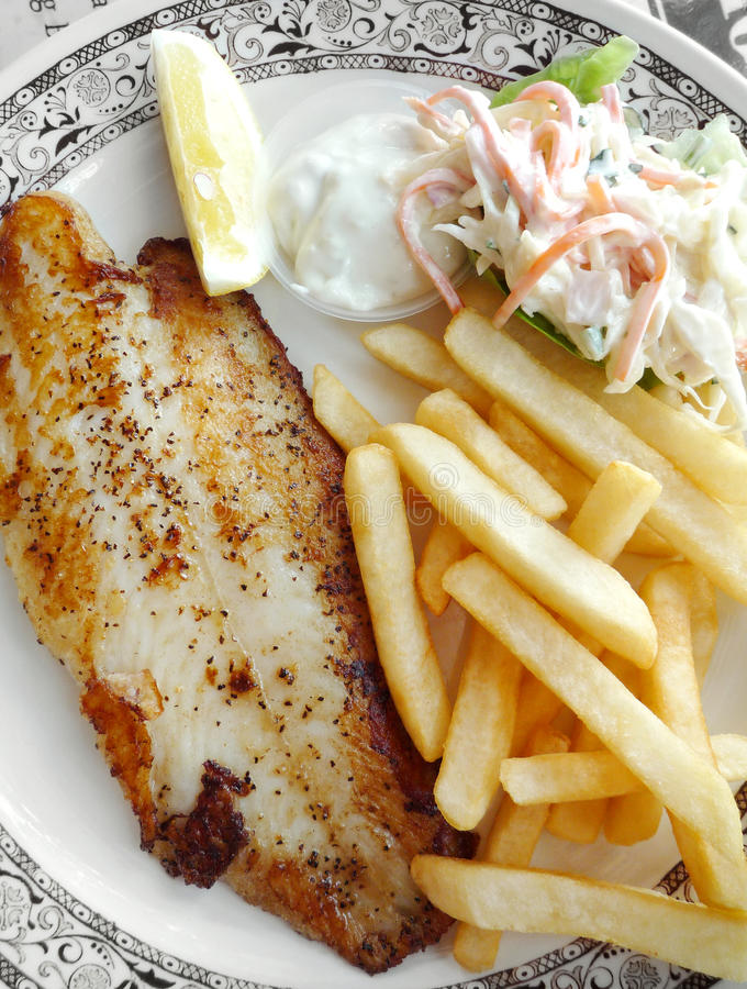 Grilled Fish With Fries And Coleslaw Stock Image Image