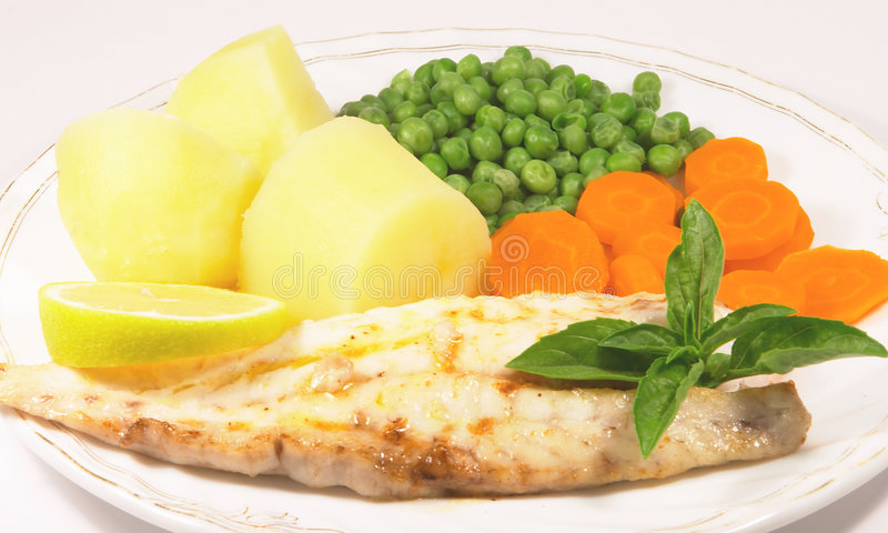 Grilled fish meal 2 stock photos