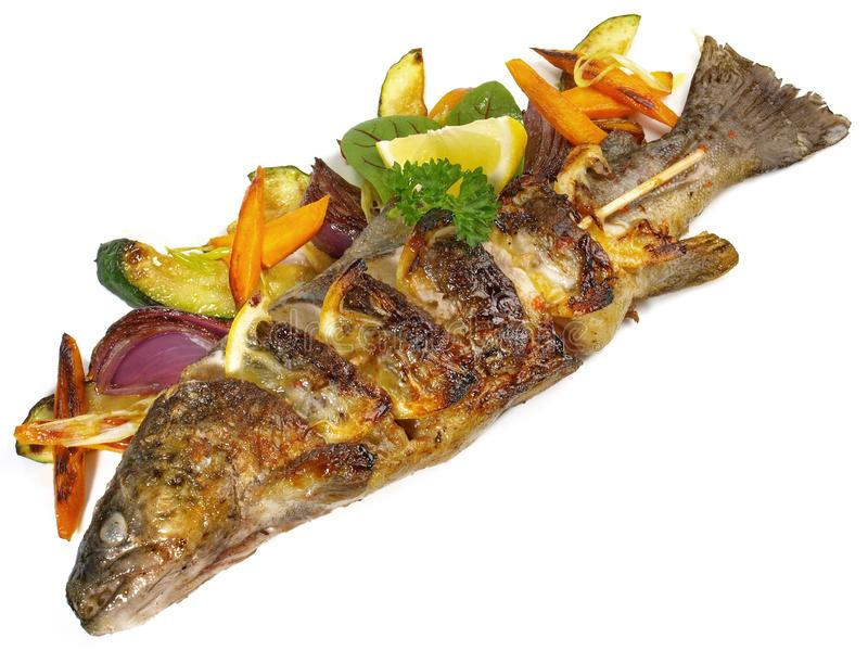Grilled Fish - Rainbow Trout royalty free stock photos