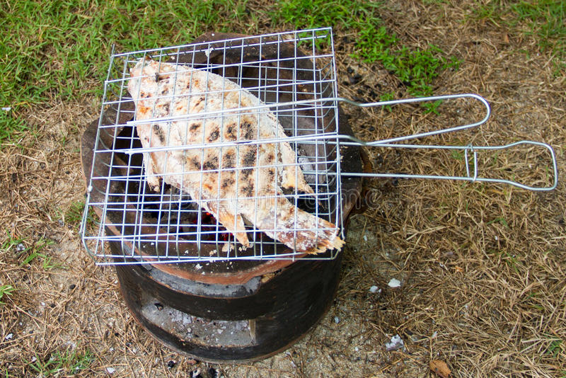 Grilled fish with salt stock photo