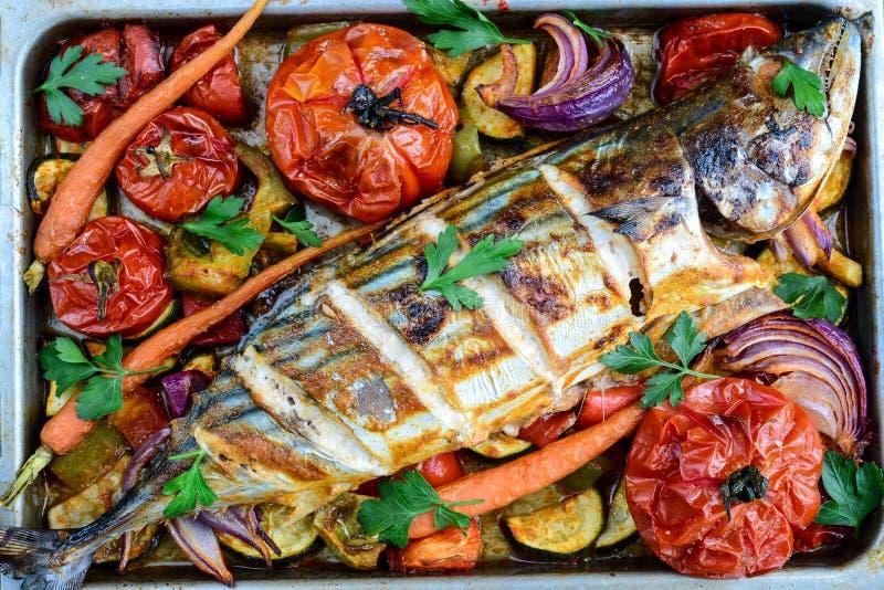 Grilled Fish. Server with Salad.Tandoori Fish stock photography