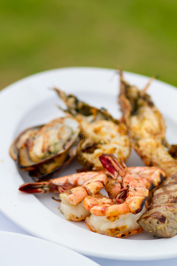 Grilled Food on plate stock photos