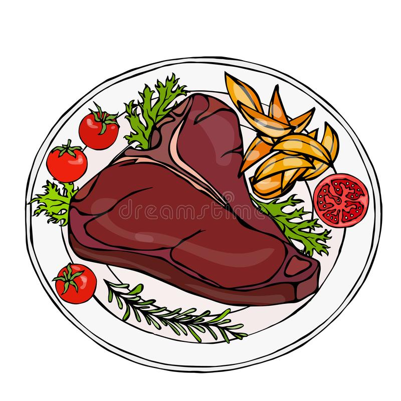 Grilled or Fried Porterhouse Steak on a Plate with Potato Wedges, Tomatoes and Herbs. Steak Dinner. Ready Meal. Steak House Meat R vector illustration