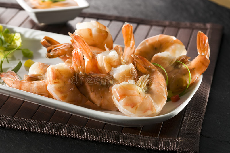 Grilled giant shrimps on plate stock photo