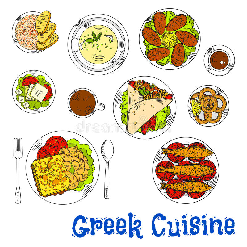 Grilled greek seafood dishes sketch drawing icon stock illustration