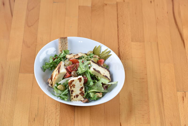 Grilled Helloumi Salad. Cyprus Style stock photos