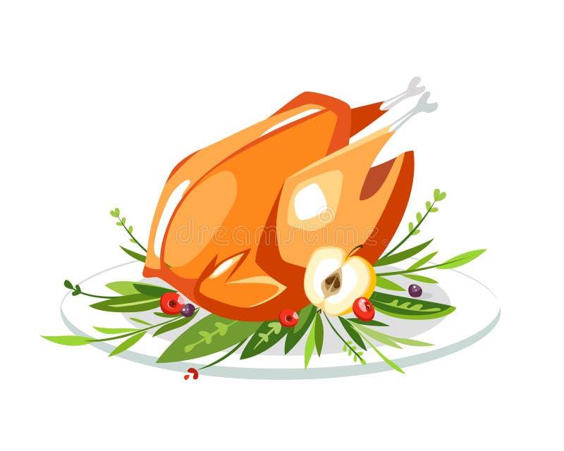 Grilled hirvió el pato sabroso del pavo del pollo en una placa con greenar stock de ilustración