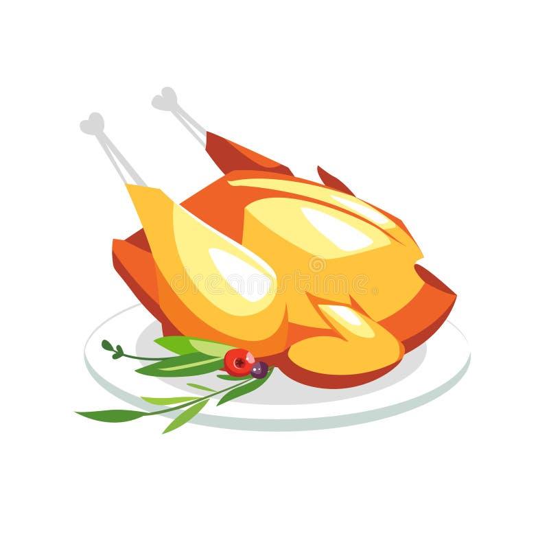 Grilled hirvió el pato sabroso del pavo del pollo en una placa con greenar libre illustration