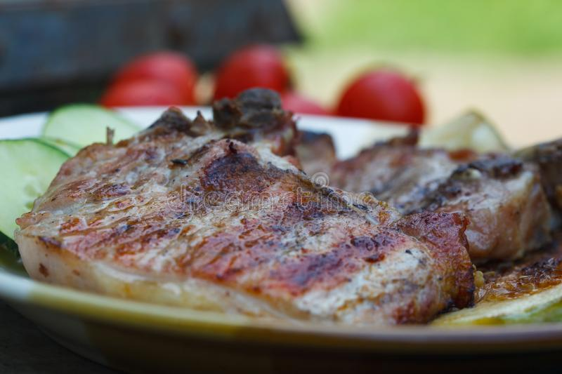 Grilled juicy pork chops. With fresh tomato and cucumber salad royalty free stock photos