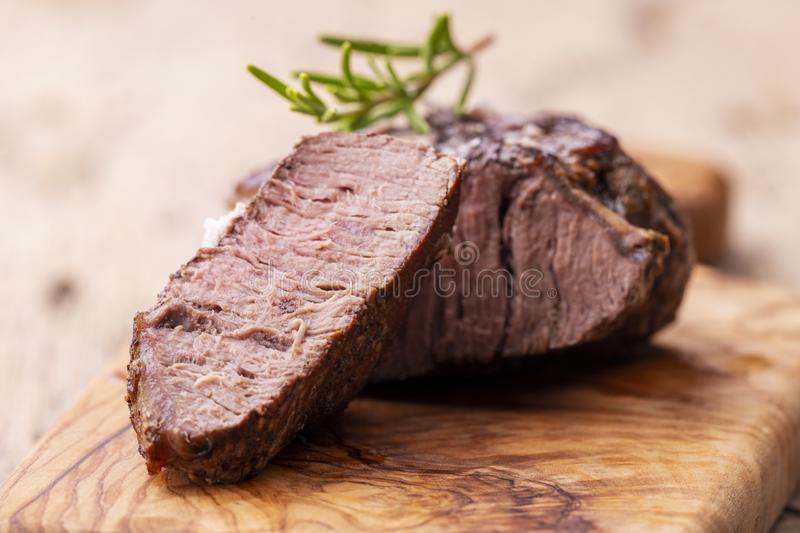 Grilled juicy steak royalty free stock photography