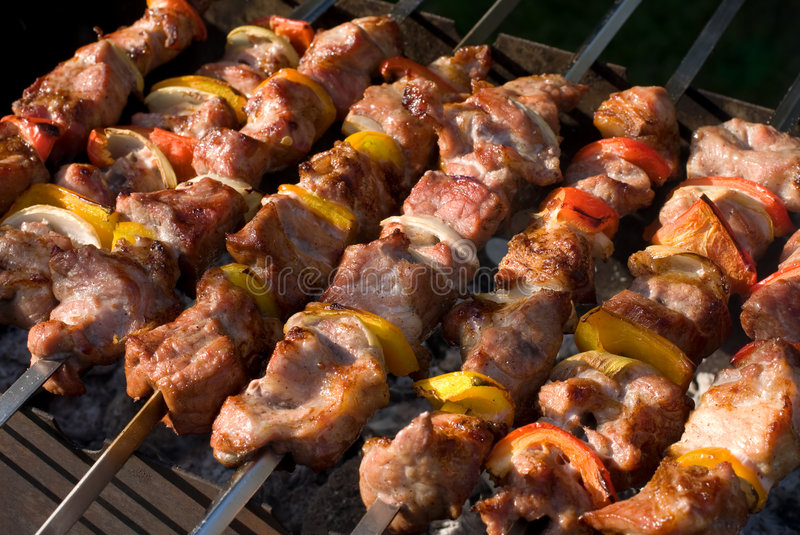 Grilled kabobs stock photography