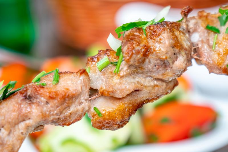 Grilled Kebab or Barbecue Shashlik mtsvadi on a Skewer. Macro Photo of Skewered Grilled Cubes of Meat with Selective Focus royalty free stock photo
