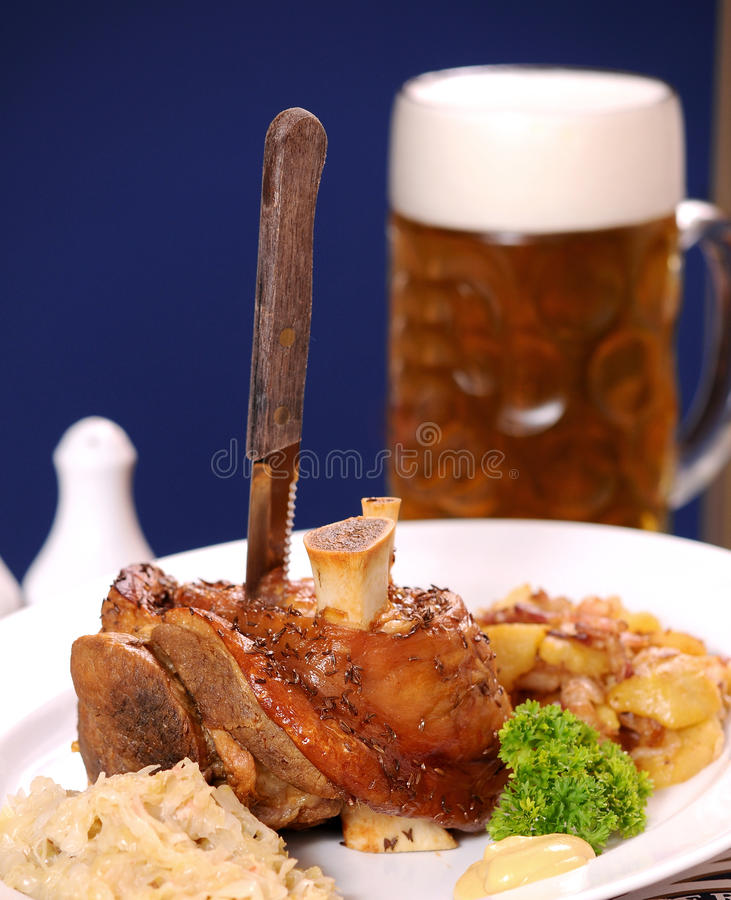 Grilled knuckle of pork royalty free stock photos