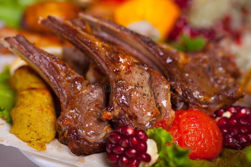 Grilled lamb ribs stock photo
