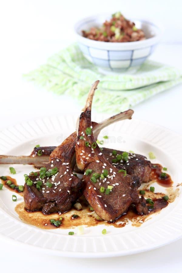 Download Grilled Lamb Teriyaki With Brown Rice Stock Photo - Image: 19285512