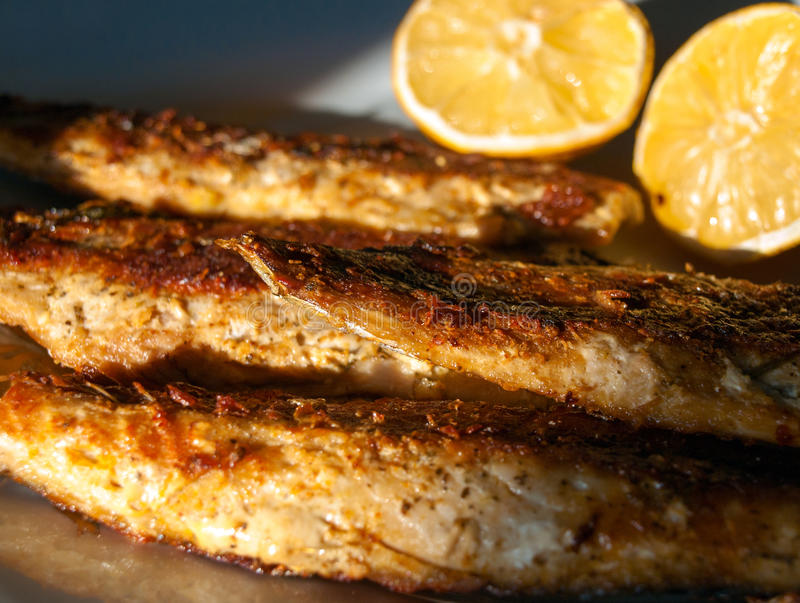 Grilled mackerel on plate royalty free stock photos