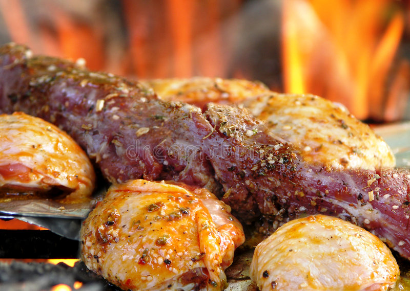 Grilled meat. Grilled and chicken pork meat stock images