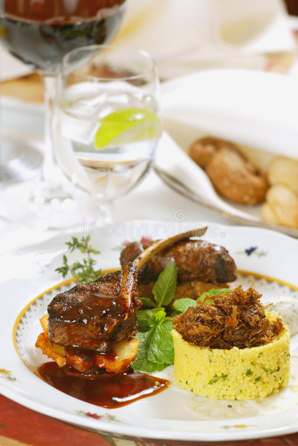 Download Grilled meat with couscous stock image. Image of tasty - 10024709