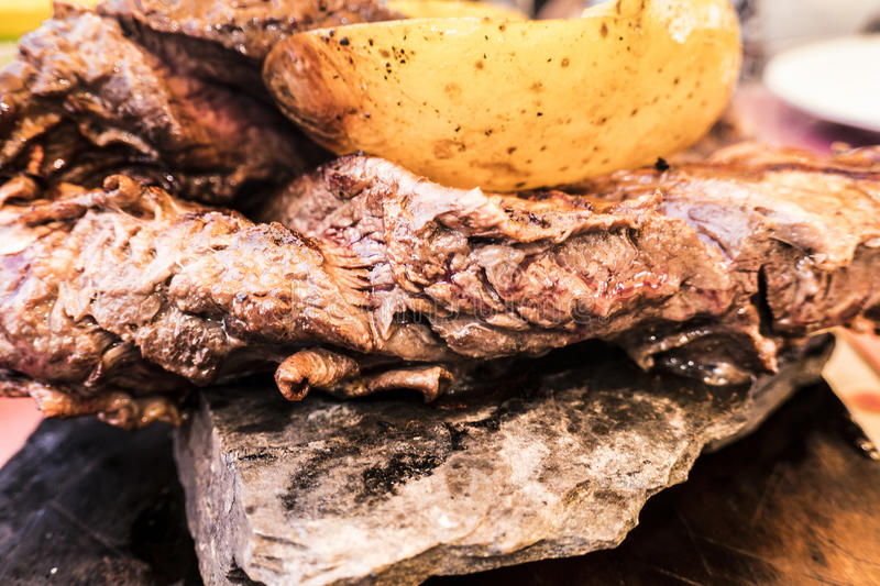 Grilled meat. Entraña royalty free stock image